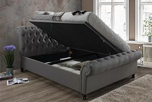 Chasewood tufted grey Upholstered Ottoman Bed, Borough Wharf
