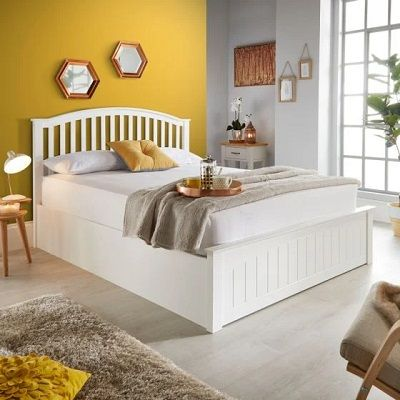 Grayson White Wooden Ottoman Bed