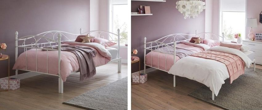 Day Bed Single Bed with Underbed Sleepover Guest 2 Beds in 1 Pull out Trundle UK