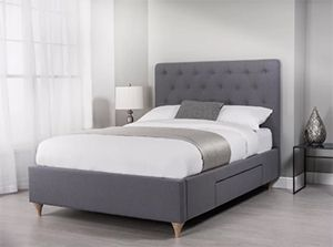 Pellston Upholstered Grey Ottoman Bed Frame with Storage Drawers