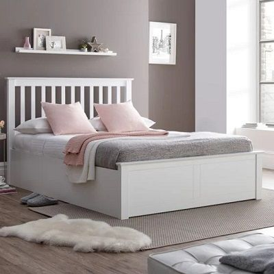 malmo wooden ottoman bed white