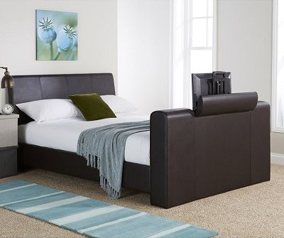 Braidwood Upholstered TV Bed, by Wade Logan brown leather