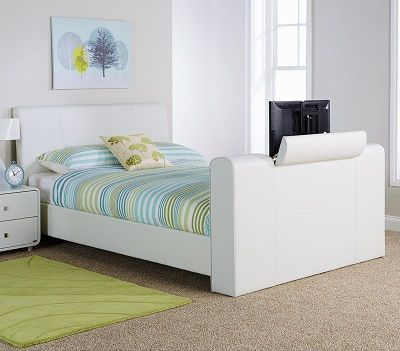 Braidwood Upholstered TV Bed, by Wade Logan white leather