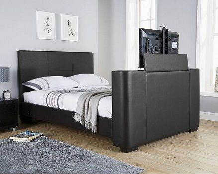 Gayle Upholstered TV Bed, by Wade Logan black leather