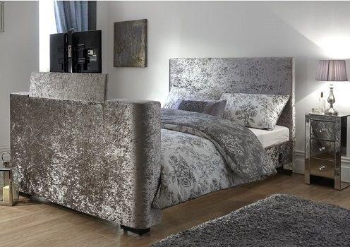 Gayle Upholstered TV Bed, by Wade Logan crushed velvet