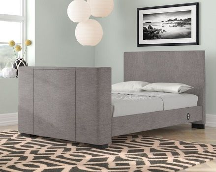 Gayle Upholstered TV Bed, by Wade Logan grey