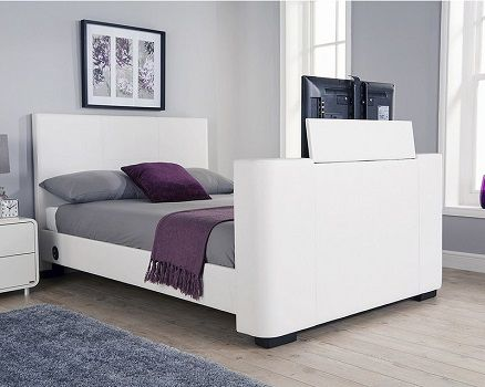 Gayle Upholstered TV Bed, by Wade Logan white leather