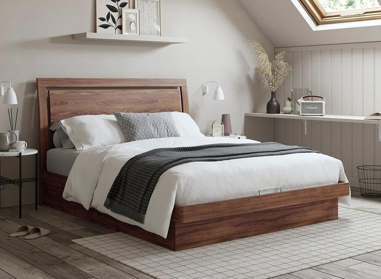 Isabella Wooden Ottoman Bed Frame oak or walnut