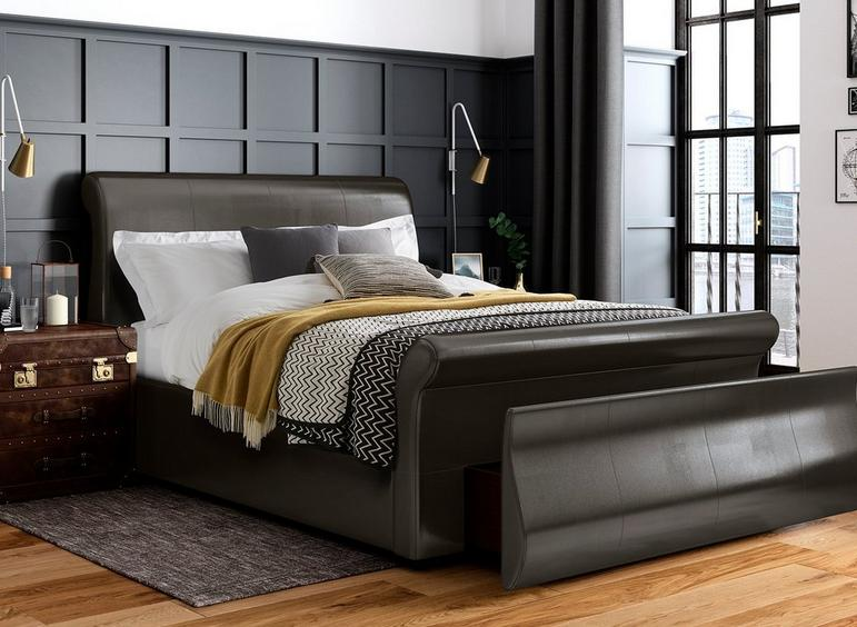 Detroit Upholstered Sleigh Bed Frame brown faux leather