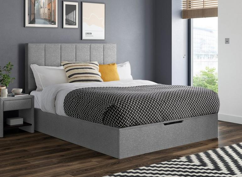 Ealing Upholstered Ottoman Bed Frame in silver