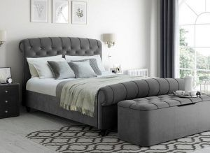 Ellis Velvet Finish Upholstered Bed Reviews