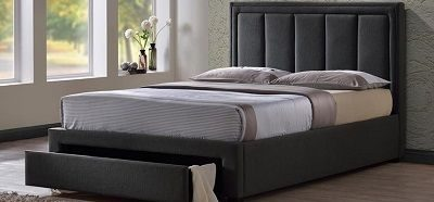 Atlanta Fabric Bed Frame with Drawer, by Time Living